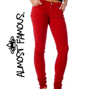 Almost Famous | Solid Red Denim Jeans - 11